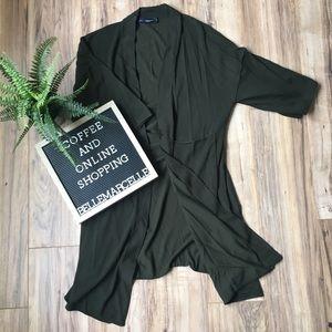 Zara Long Kimono Sweater Cardigan Green Summer S